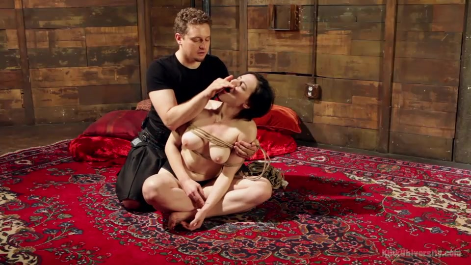 Gentle Naked Slave Rope Bondage On A Carpet-6078