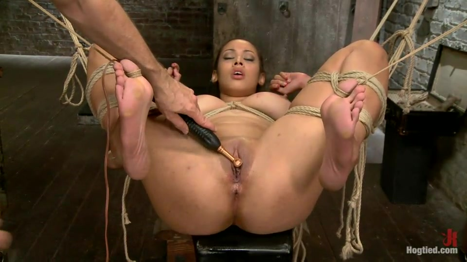 Sybian And Pussy Vibrator Fro A Smooth Skinned Big Tit Tied Slave