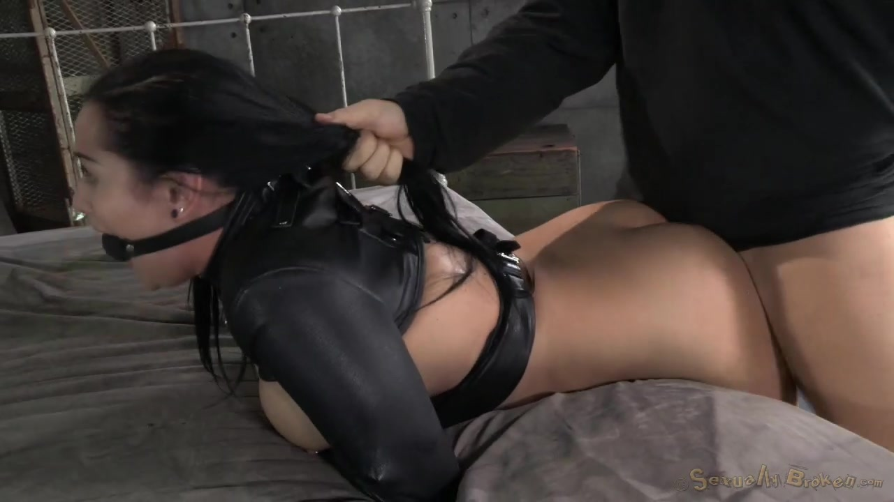 Sexually Broken Babe In Leather Straitjacket Likes -4931