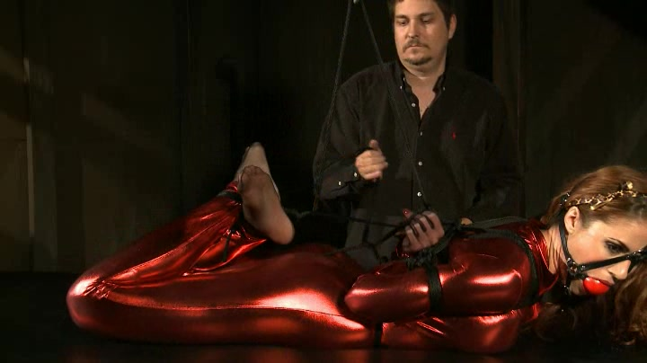 Hogtied in latex